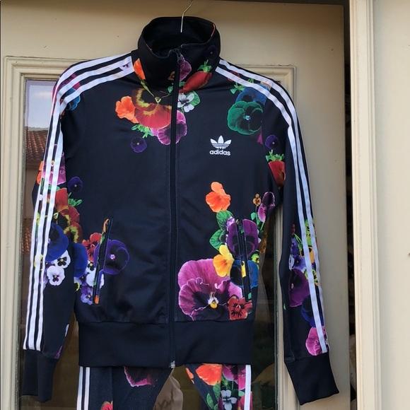 Adidas Floral Tracksuit Set Jacket Leggings